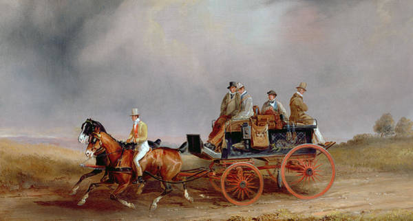 Brake Wall Art - Painting - Going Shooting A Postillion And Pair With A Game Cart by Charles Cooper Henderson