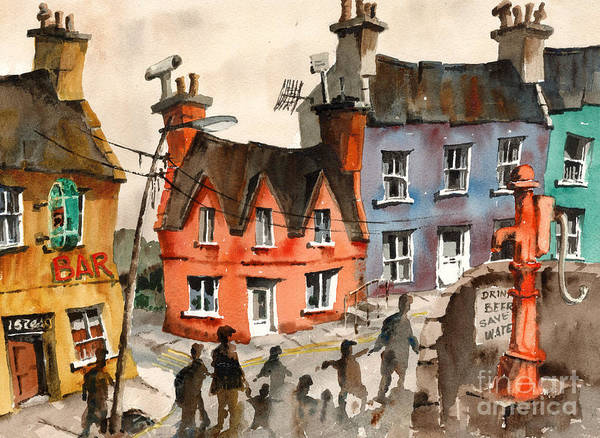 Painting - Cork   Eyeries  Going To Mass In Ireland by Val Byrne