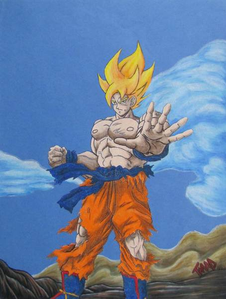 Tmad Drawing - Goku by Michael  TMAD Finney