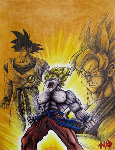 Tmad Drawing - Goku  Sayan Stages by Michael  TMAD Finney