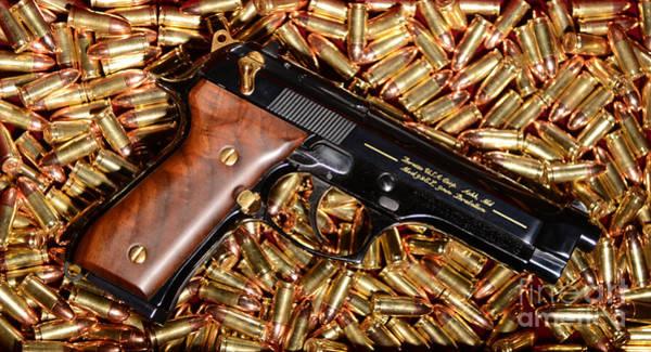 Beretta Photograph - Gold 9mm Beretta With Brass Ammo by Jt PhotoDesign