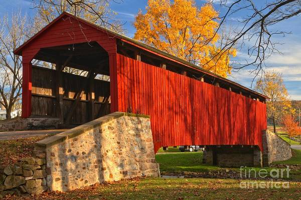 Photograph - Gold Above The Poole Forge Covered Bridge by Adam Jewell