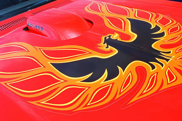 455 Photograph - Gold And Black Firebird Emblem On Red Trans Am by Gill Billington