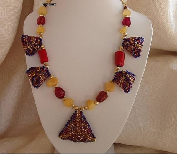 Wall Art - Jewelry - Gold And Blue Triangles And Gemstones Necklace by Nurit Tzubery
