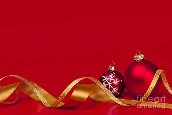 Wall Art - Photograph - Gold And Red Christmas Decorations by Elena Elisseeva