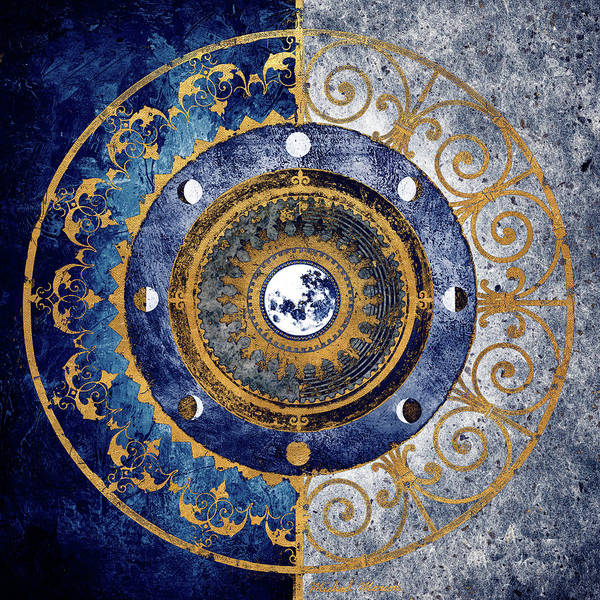 Gold Digital Art - Gold And Sapphire Moon Dial I by Michael Marcon
