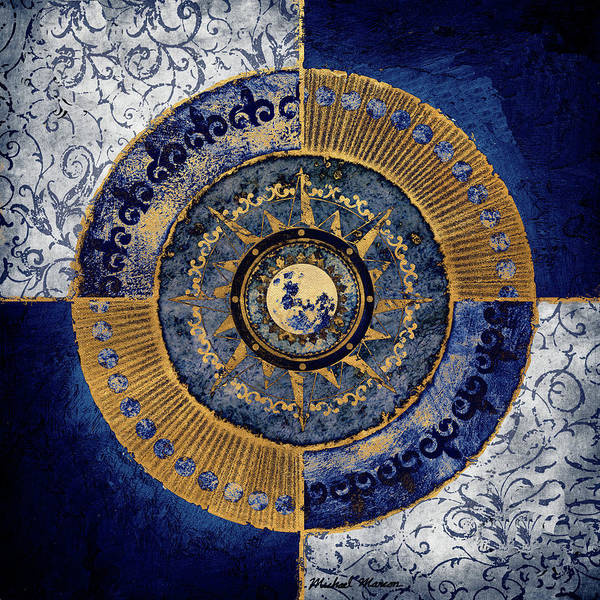 Wall Art - Digital Art - Gold And Sapphire Moon Dial II by Michael Marcon