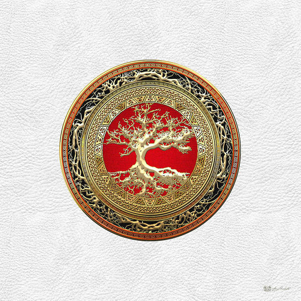 Digital Art - Gold Celtic Tree Of Life On White Leather  by Serge Averbukh