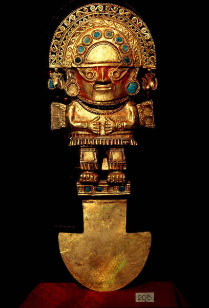 Turqoise Photograph - Gold Ceremonical Tumi by George Holton
