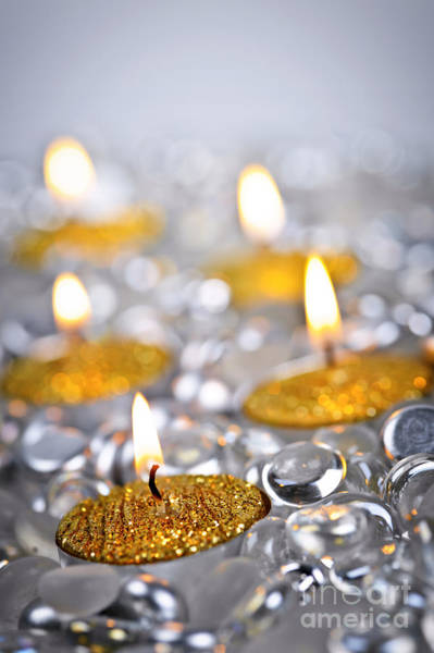Wall Art - Photograph - Gold Christmas Candles by Elena Elisseeva