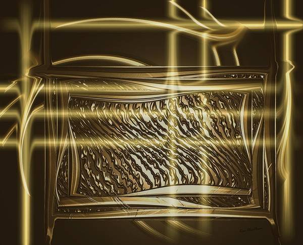 Digital Art - Gold Chrome Abstract by Kae Cheatham