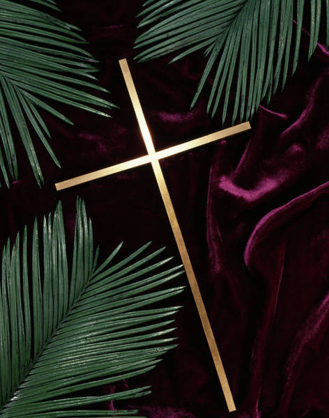 Wall Art - Photograph - Gold Cross Green Palm Fronds Purple by Vintage Images