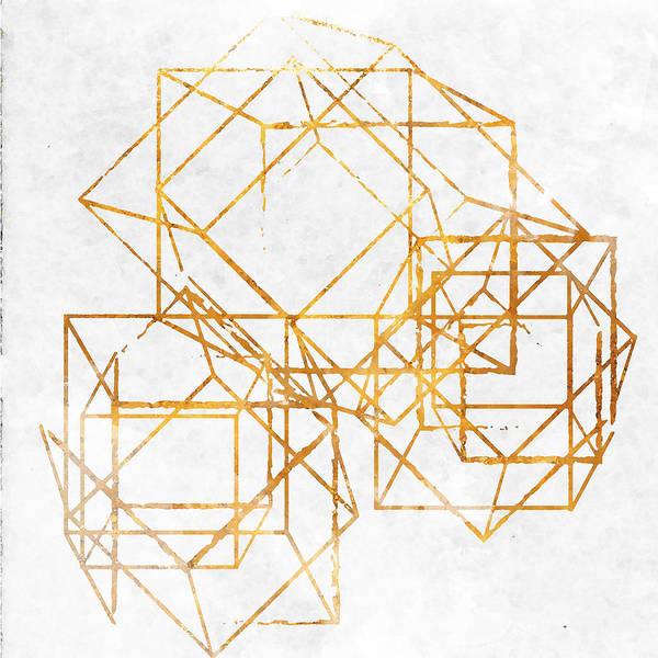 Gold Digital Art - Gold Cubed II by South Social Studio