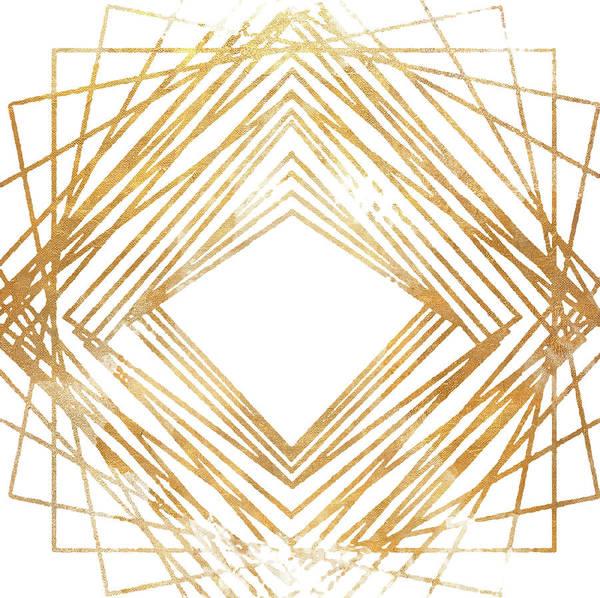 Wall Art - Drawing - Gold Diamond Watercolor by South Social Studio