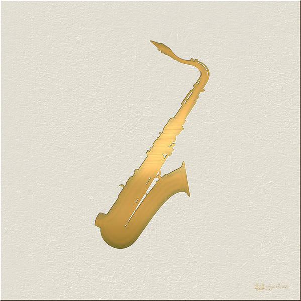 Digital Art - Gold Embossed Saxophone On Beige Background by Serge Averbukh