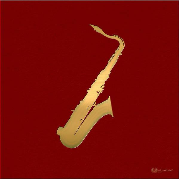 Digital Art - Gold Embossed Saxophone On Red Background by Serge Averbukh