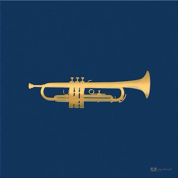 Digital Art - Gold Embossed Trumpet On Dark Midnight Blue Background by Serge Averbukh