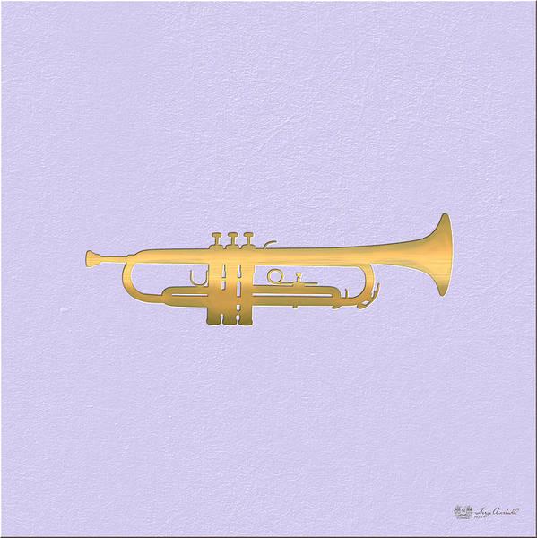 Digital Art - Gold Embossed Trumpet On Light Lavender Background by Serge Averbukh