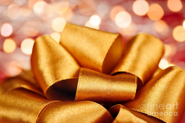 Glossy Photograph - Gold Gift Bow With Festive Lights by Elena Elisseeva