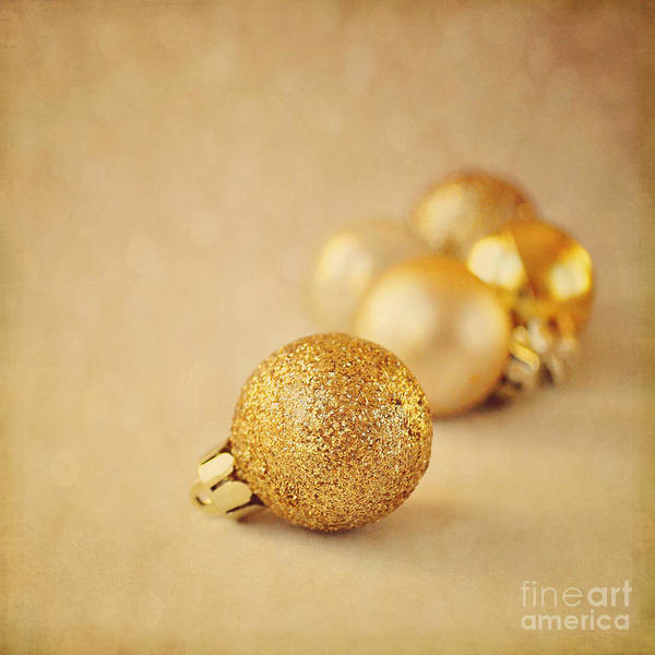 Wall Art - Photograph - Gold Glittery Christmas Baubles by Lyn Randle