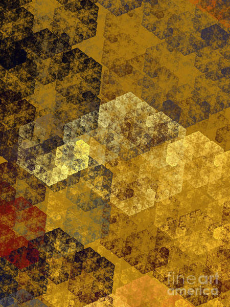 Wall Art - Digital Art - Gold Hexagon Fractal Art 1 Of 3 by Andee Design