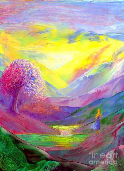 Mountain Lake Painting - Gold Horizons by Jane Small