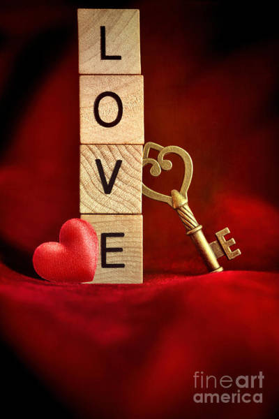 Photograph - Gold Key With Wooden Block Letters That Spell The Word Love by Sandra Cunningham