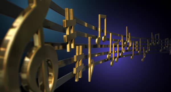 Wall Art - Digital Art - Gold Music Notes On Wavy Lines by Allan Swart