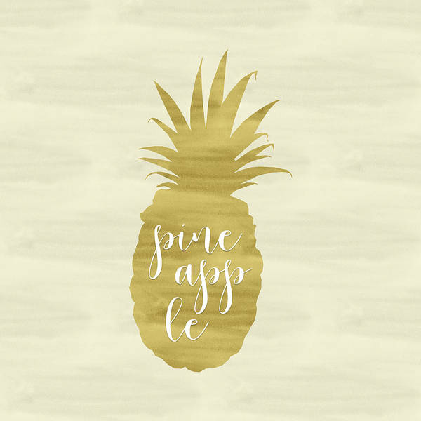 Fruit Wall Art - Painting - Gold Pineapple Square by Tara Moss
