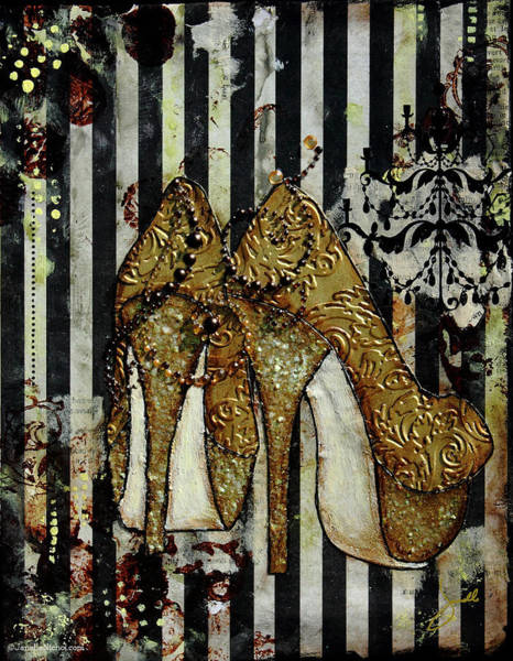 Stripe Mixed Media - Gold Sequined Shoes With Black And Ivory Striped Background by Janelle Nichol