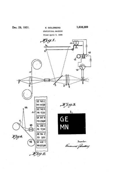 Computer Illustration Photograph - Goldberg Statistical Machine Patent by Us National Archives