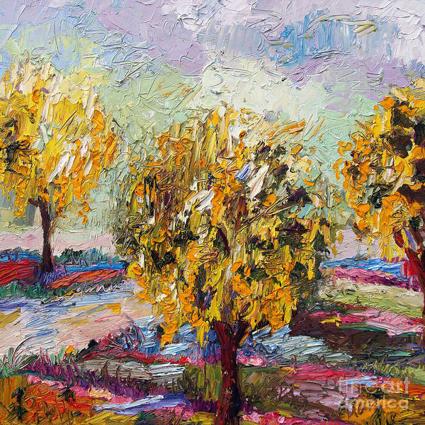 Painting - Impressionist Oil Gold Chain Trees  by Ginette Callaway