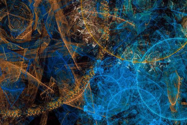 Digital Art - Golden And Blue Abstract Art by Matthias Hauser