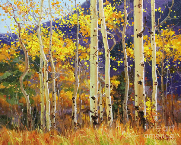 Wall Art - Painting - Golden Aspen W. Mystical Purple by Gary Kim