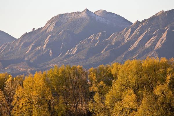Photograph - Golden Autumn Boulder Colorado Flatiron View by James BO Insogna
