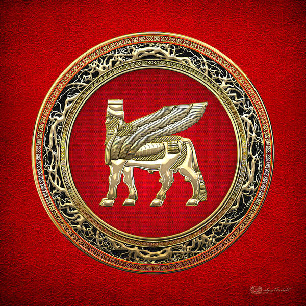 Amulet Digital Art - Golden Babylonian Winged Bull  by Serge Averbukh