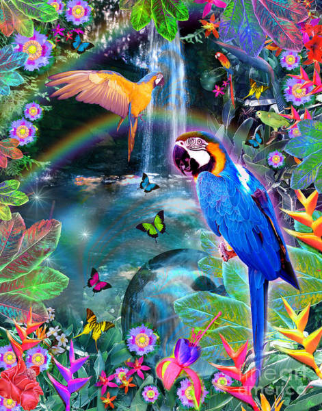 Parrot Digital Art - Golden Bluebirds Paradise Version 2 by MGL Meiklejohn Graphics Licensing