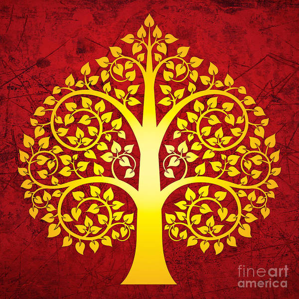 Golden Digital Art - Golden Bodhi Tree No.1 by Bobbi Freelance