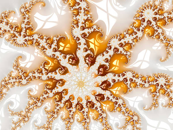 Digital Art - Golden Brown And White Luxe Abstract Art by Matthias Hauser