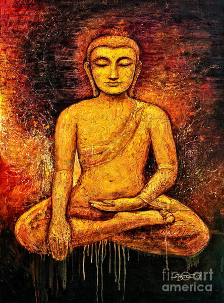 Enlightenment Painting - Golden Buddha 2 by Shijun Munns