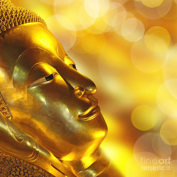 Thai Wall Art - Photograph - Golden Buddha by Delphimages Photo Creations