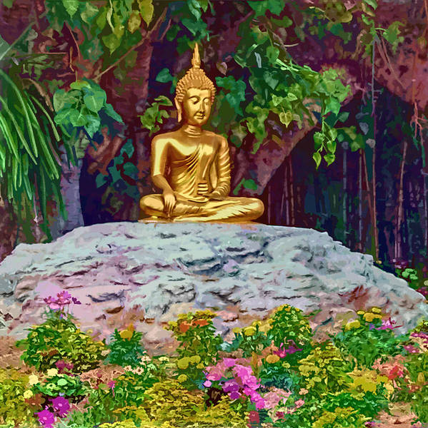 Digital Art - Golden Buddha by Donna Proctor