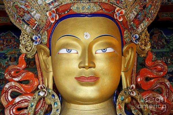 Northern India Photograph - Golden Buddha Statue Ladakh by Robert Preston