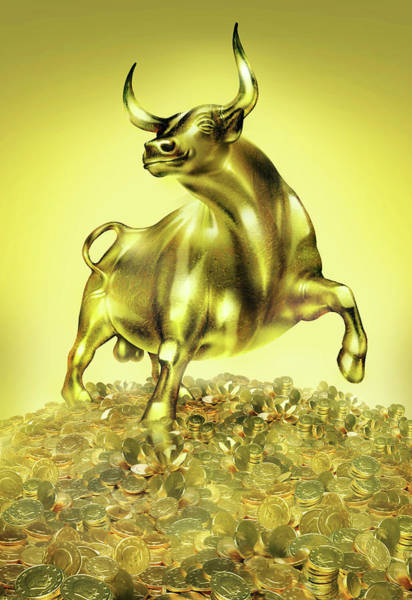 Financial Crisis Photograph - Golden Bull And Euros by Smetek