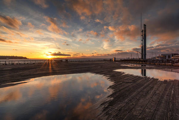 Seattle Skyline Photograph - Golden Clouds Pools by Mike Reid