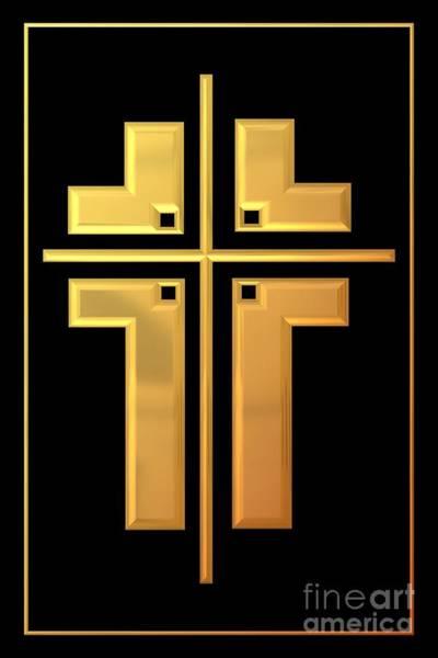 Digital Art - Golden Cross 1 by Rose Santuci-Sofranko