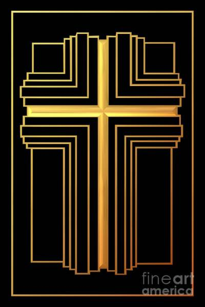 Digital Art - Golden Cross 2 by Rose Santuci-Sofranko
