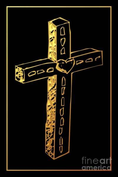 Digital Art - Golden Cross 4 by Rose Santuci-Sofranko