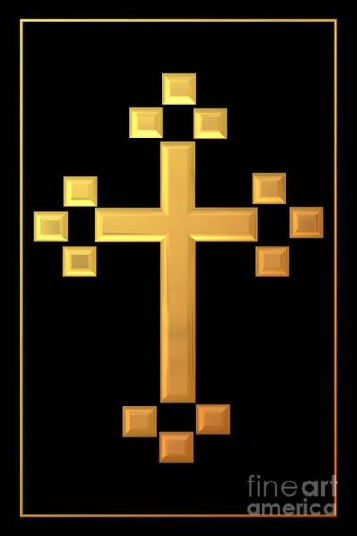 Digital Art - Golden Cross 5 by Rose Santuci-Sofranko