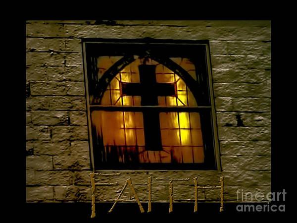 Photograph - Golden Cross Window Church by Lesa Fine